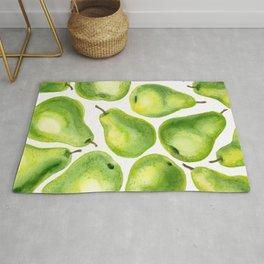 Green pears watercolor pattern Rug