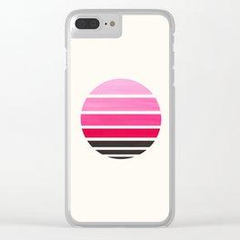 Magenta Mid Century Modern Minimalist Circle Round Photo Staggered Sunset Geometric Stripe Design Clear iPhone Case
