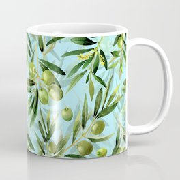 mediterranean summer olive branches on turquoise Coffee Mug