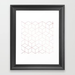 Simply Cubic in Rose Gold Sunset Framed Art Print