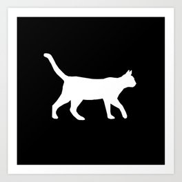 Cat silhouette cat lady cat lover black and white square minimal modern pet silhouette pattern Art Print