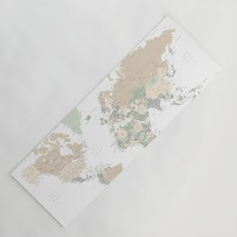"""World map with cities, """"Anouk"""" Yoga Mat"""