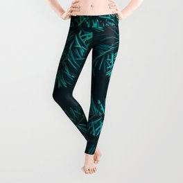 Pine Tree Close Up Neon Green Colorful Leaves Against A Black Background Leggings