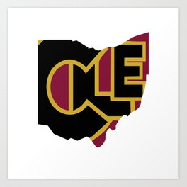 CLE, Ohio Art Print