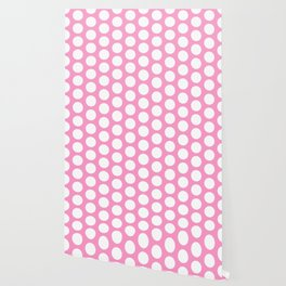 White circles on pink Wallpaper