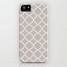 Classic Quatrefoil pattern, warm grey iPhone Case