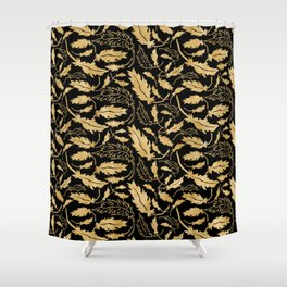 Gold Leaf Pattern Shower Curtain