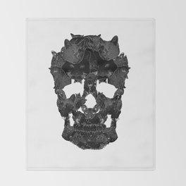 Sketchy Cat skull Throw Blanket