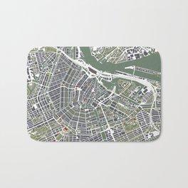Amsterdam city map engraving Bath Mat