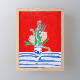 Protea Still Life in Red and Delft Blue Framed Mini Art Print