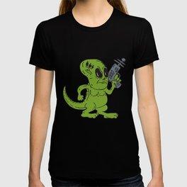 Alien Dinosaur Holding Ray Gun Cartoon T-shirt