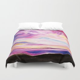 Colourful, Vibrant Abstract Sunset Oil Painting Duvet Cover