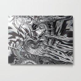 Silver Ammonite 1 Amazing Fractal Metal Print