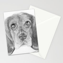 Beagle Dog Face Realistic Pencil Sketch Drawing Stationery Cards