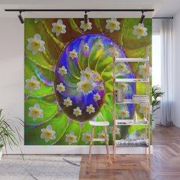ULTRA VIOLET GREEN GARDEN  SPIRAL &  DAFFODILS ART Wall Mural