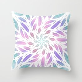 Soft Feathers Dreamcatcher - Holographic Abstract Rainbow Mandala Throw Pillow