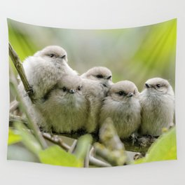 Heartwarming Family Portrait: Five Bushtit Brothers Wall Tapestry