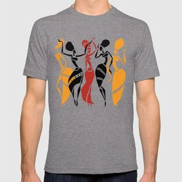Abstract African dancers silhouette. Figures of african women. T-shirt