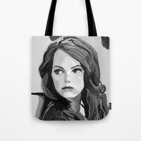 emma stone Tote Bags featuring Emma Stone by Vito Fabrizio Brugnola