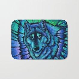 Blue Wolf Aurora Colorful Fantasy Bath Mat