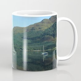 Scottish Highlands Lake with Boats Coffee Mug