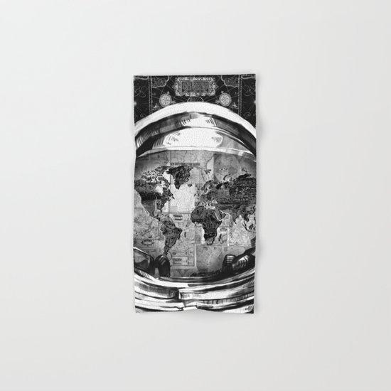 astronaut world map black and white 2 Hand & Bath Towel