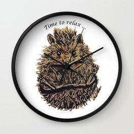 Sleepy Hedgehog Wall Clock