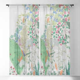 Painterly Floral Jungle on Pink and White Sheer Curtain