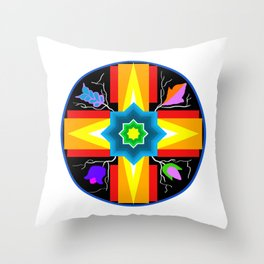 Star/Flower Design Throw Pillow