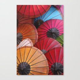 Paper Colored Umbrellas from Laos Canvas Print