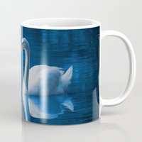 swan Mugs featuring Swan by Spooky Dooky