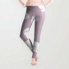 Kawaii clouds girls pink happy design pattern print Leggings
