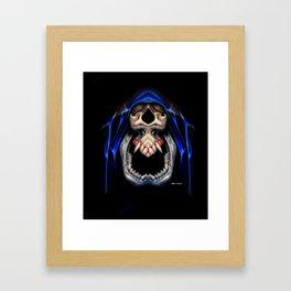 Blue Caped Skull Framed Art Print