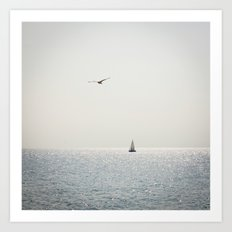 Fly over the sea Art Print
