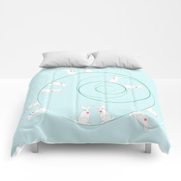 The Funny Bunnies in Baby Blue Comforters