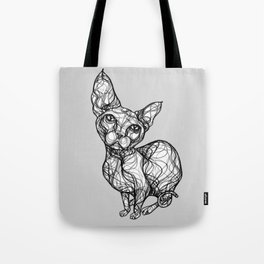 sweet cat line style - gatto dolce - chat doux - gato dulce B/W Tote Bag