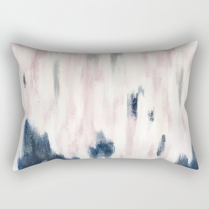 Blush Pink and Blue Pretty Abstract Rectangular Pillow