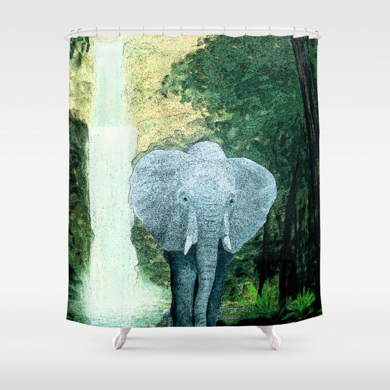 Elephant Walks The Jungle Shower Curtain