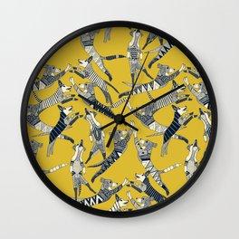 dog party indigo yellow Wall Clock