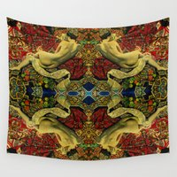 pitbull Wall Tapestries featuring girl by Кaterina Кalinich