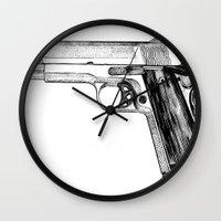 gun Wall Clocks featuring GUN by Seth Beukes
