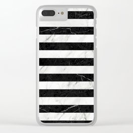 Marble Stripes Pattern 2 - Black and White Clear iPhone Case