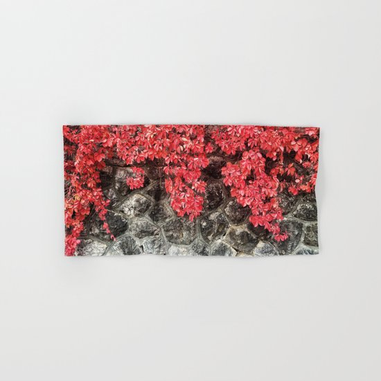 Red ivy leaves autumn stone wall Hand & Bath Towel