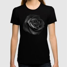 Fabric Rose Black Womens Fitted Tee LARGE