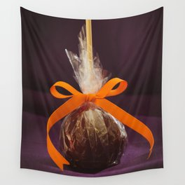 Candy Apple Photo with Orange Ribbon on Purple Background Wall Tapestry