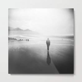 Oregon Coast Ghost - Holga Black and White Double Exposure Metal Print