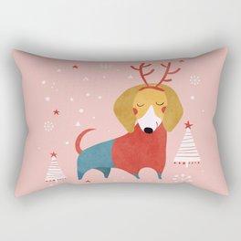 Merry Christmas Dog Card 3 Rectangular Pillow