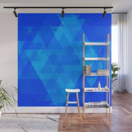Bright blue and celestial triangles in the intersection and overlay. Wall Mural