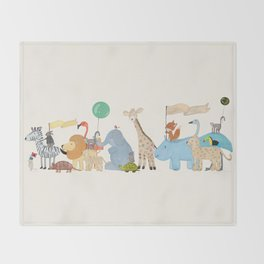 little safari parade Throw Blanket