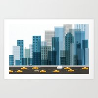 cityscape Art Prints featuring Cityscape by Keith Negley